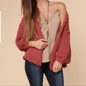 Very J Baloon Sleeve Cardigan Knit  Sweater